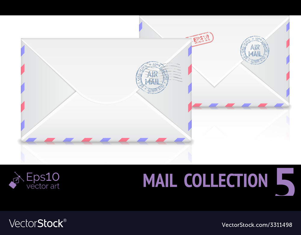 Air mail envelope with postal stamp isolated on vector | Price: 1 Credit (USD $1)