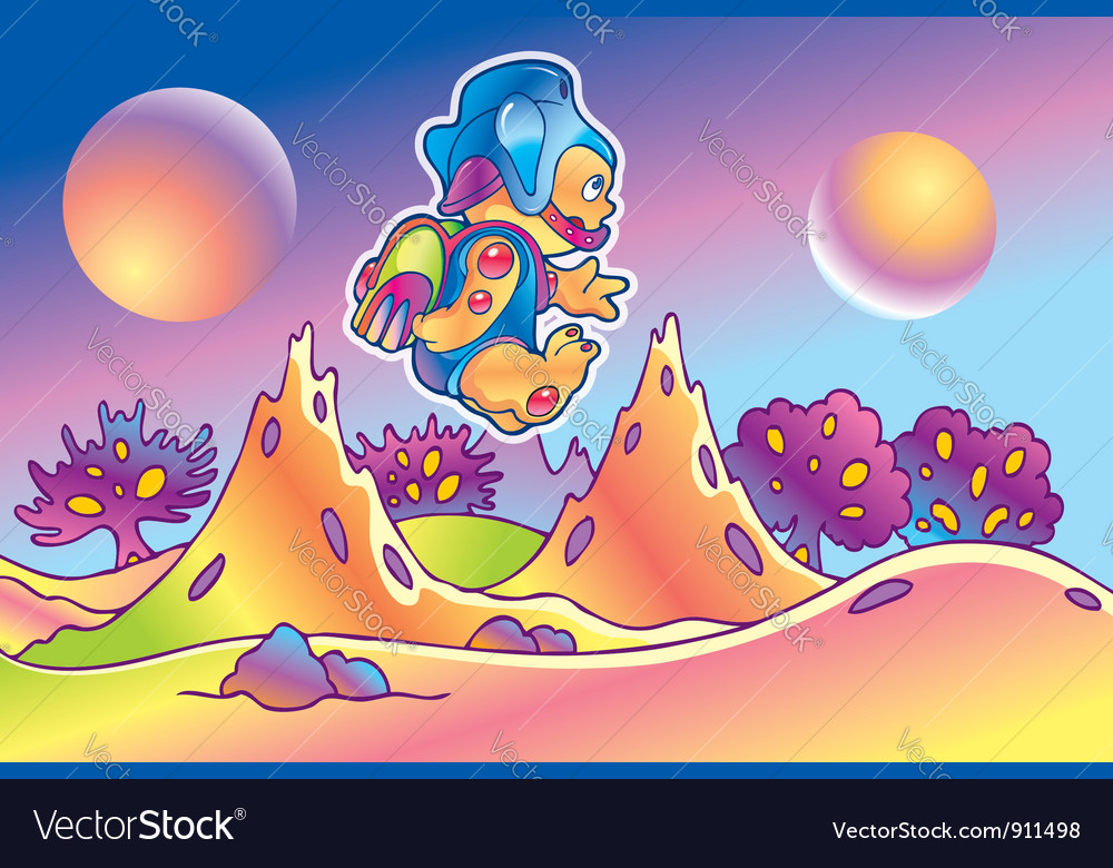 Alien and his planet vector | Price: 3 Credit (USD $3)
