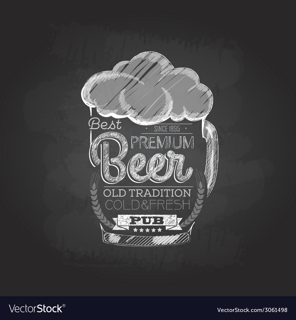 Chalk drawing typography beer glass vector | Price: 1 Credit (USD $1)