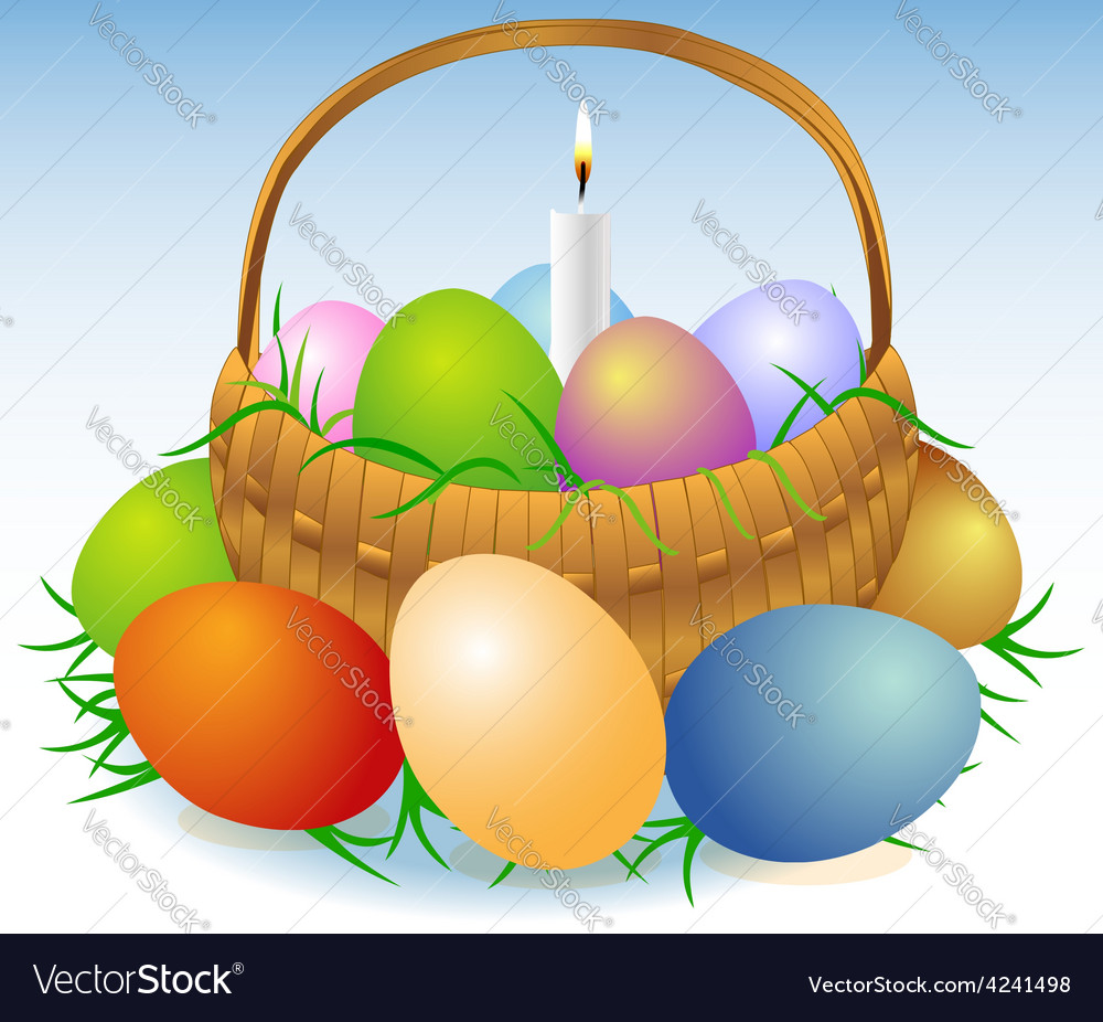 Easter basket with candle vector | Price: 1 Credit (USD $1)