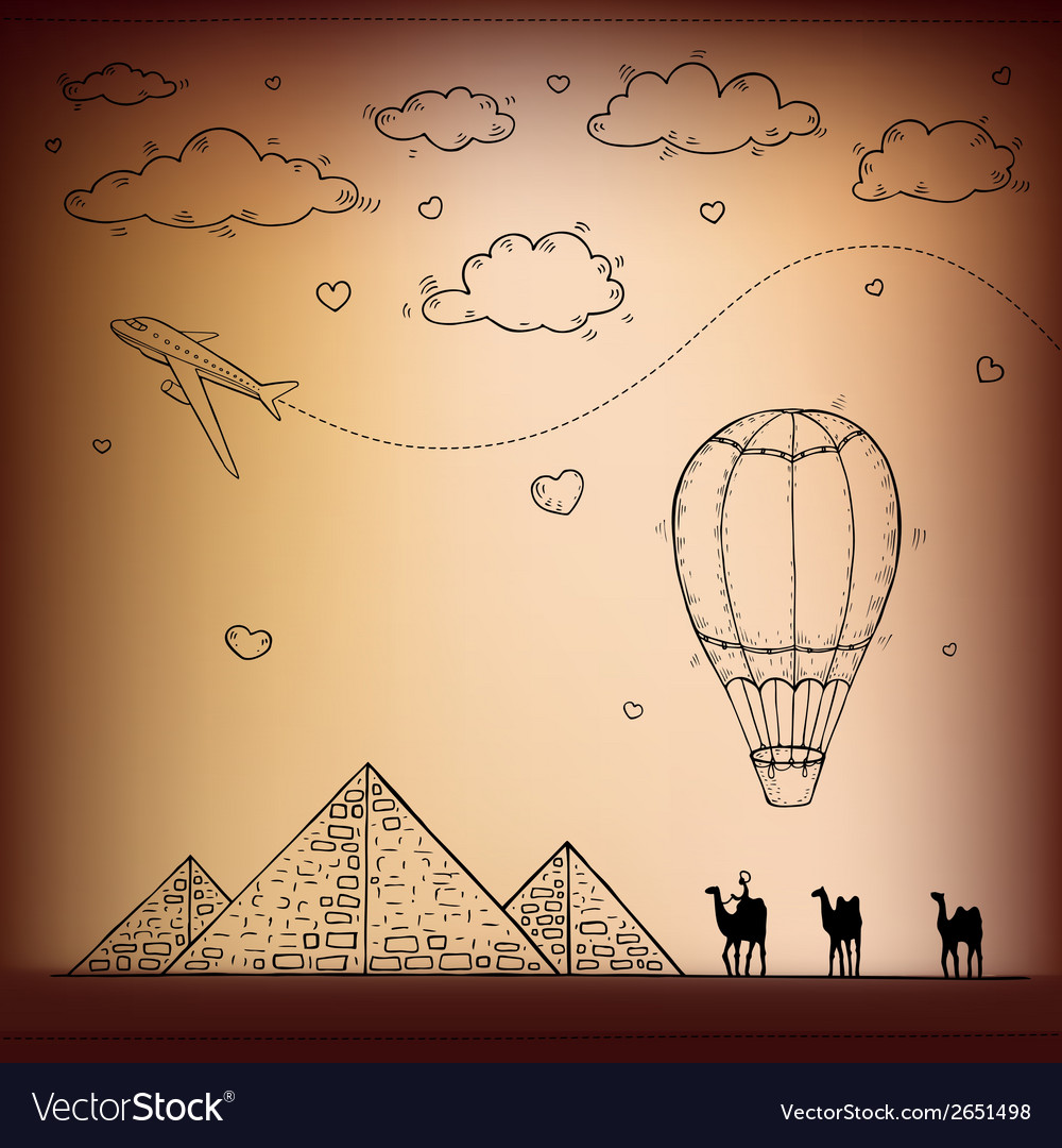 Egypt hand drawn travel and tourism background vector | Price: 1 Credit (USD $1)