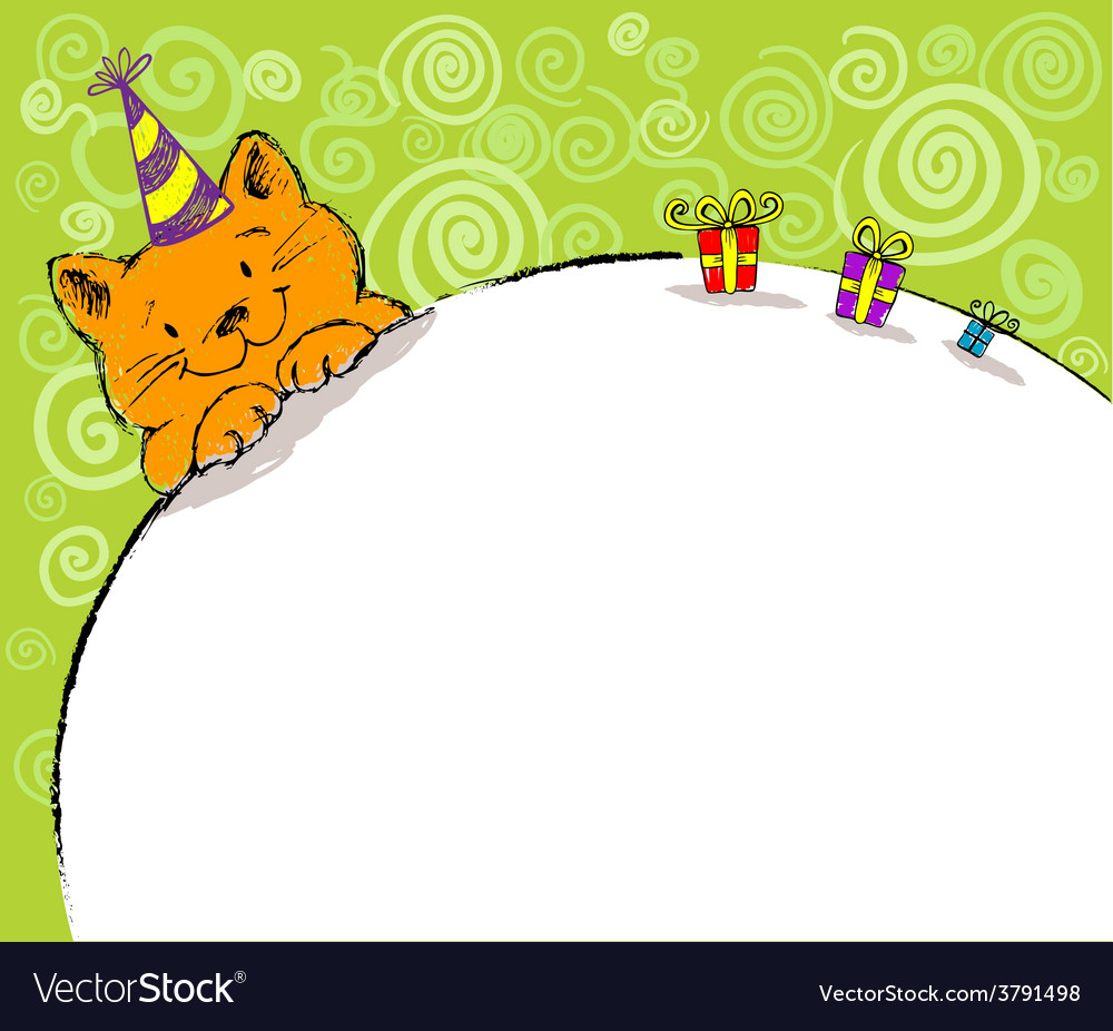 Greeting card with red cat and place for text vector | Price: 1 Credit (USD $1)