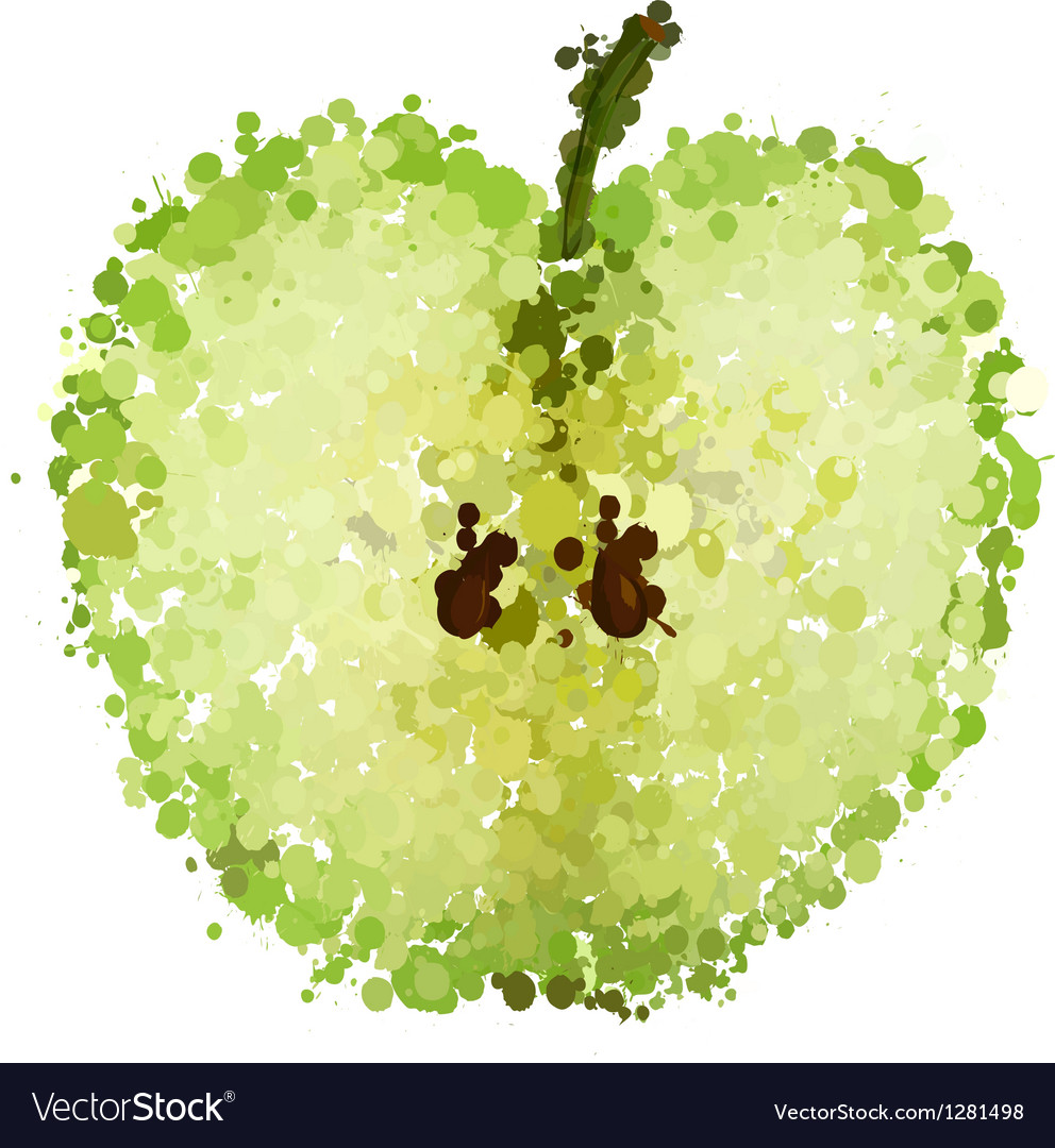 Half green apple of blots isolated vector | Price: 1 Credit (USD $1)