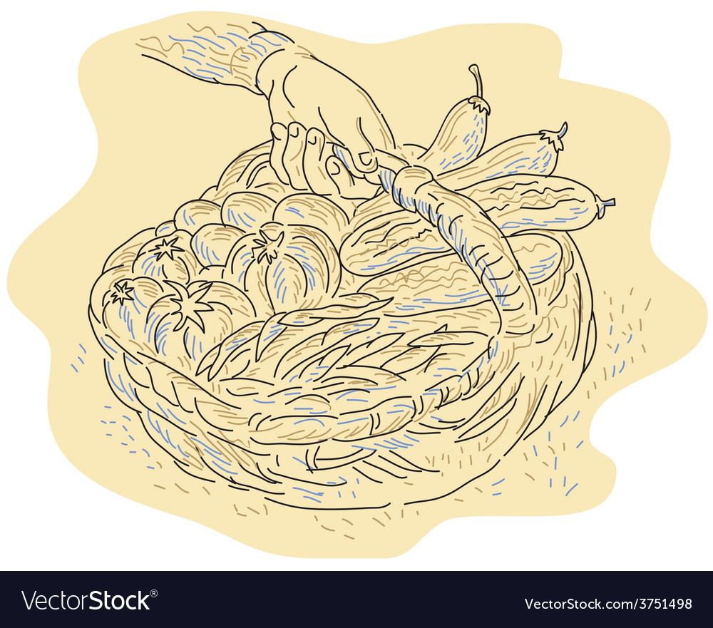 Hand holding basket full harvest crops vector | Price: 1 Credit (USD $1)