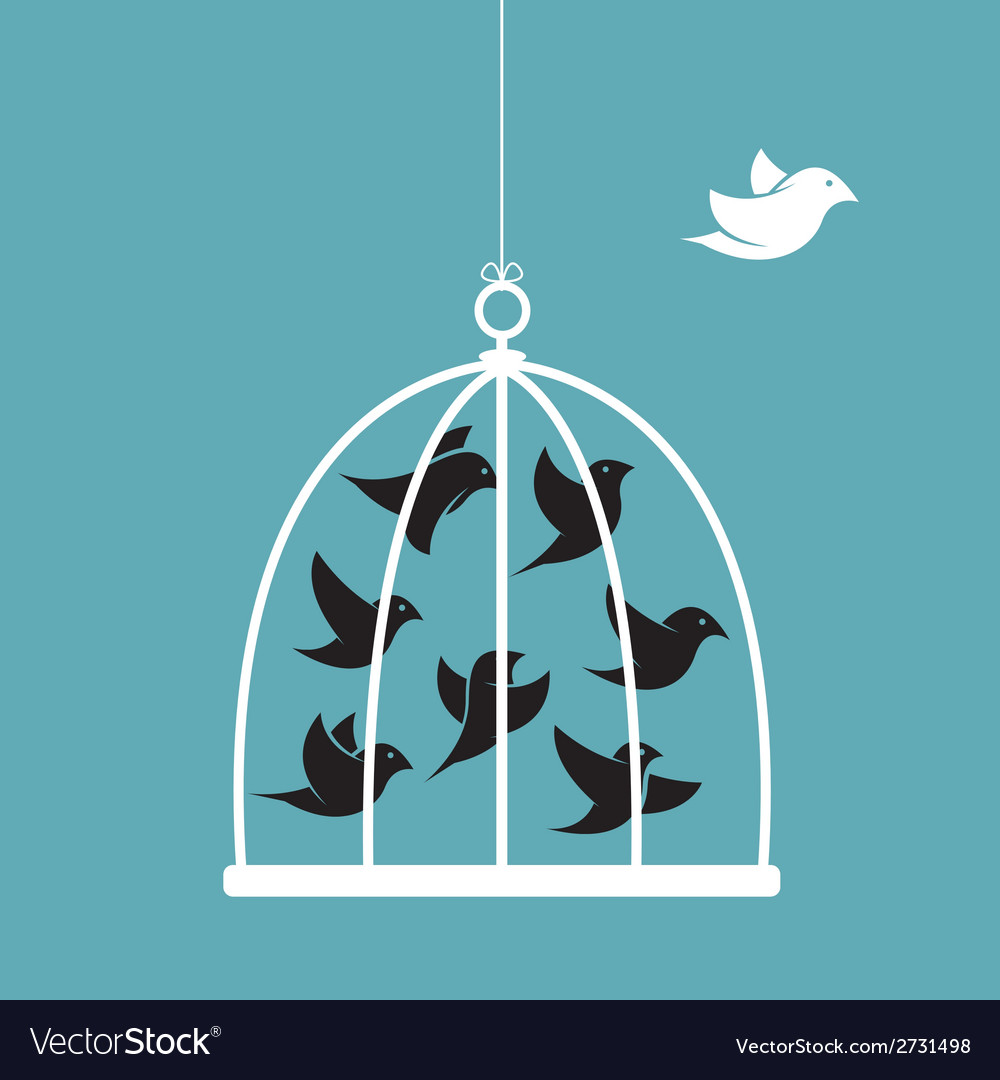 Image of a bird in the cage and outside vector | Price: 1 Credit (USD $1)