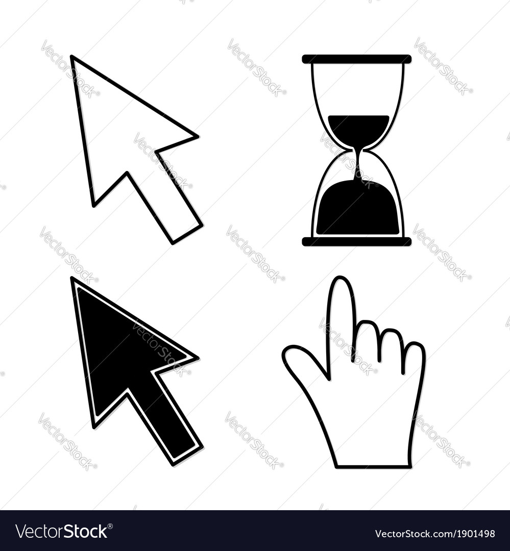 Mouse hand arrows and hourglass black color vector | Price: 1 Credit (USD $1)