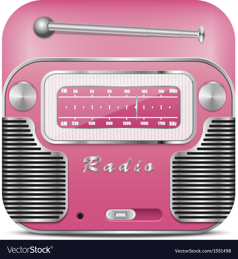Pink retro radio icon vector | Price: 1 Credit (USD $1)