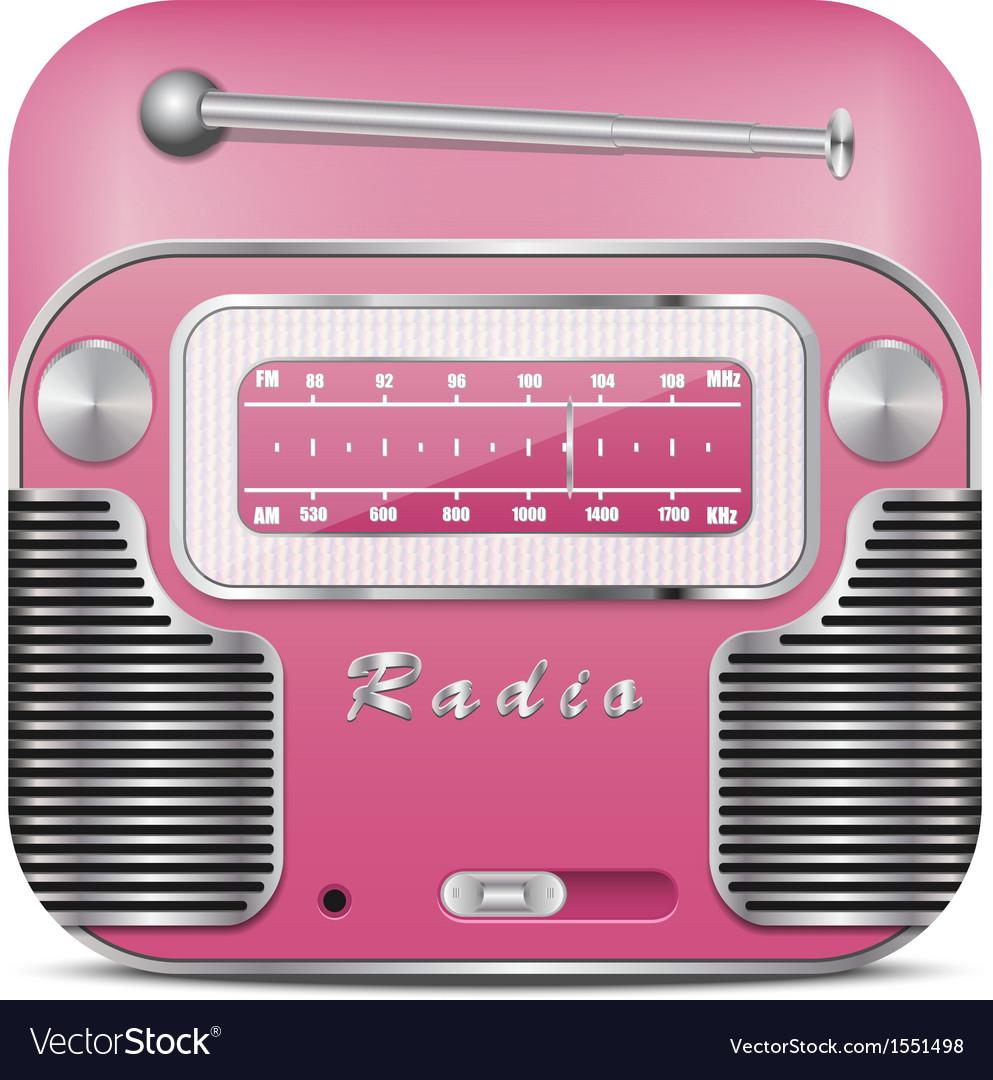 Pink retro radio icon vector | Price: 1 Credit (USD $1)