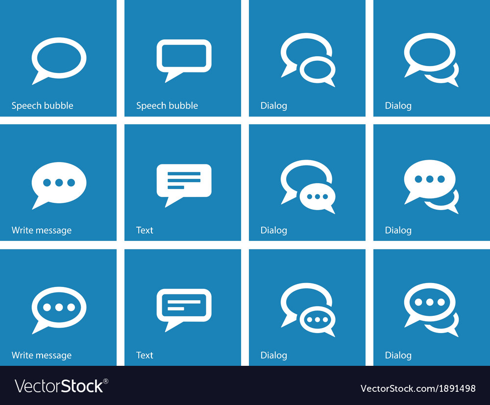 Speech bubble icons on blue background vector | Price: 1 Credit (USD $1)