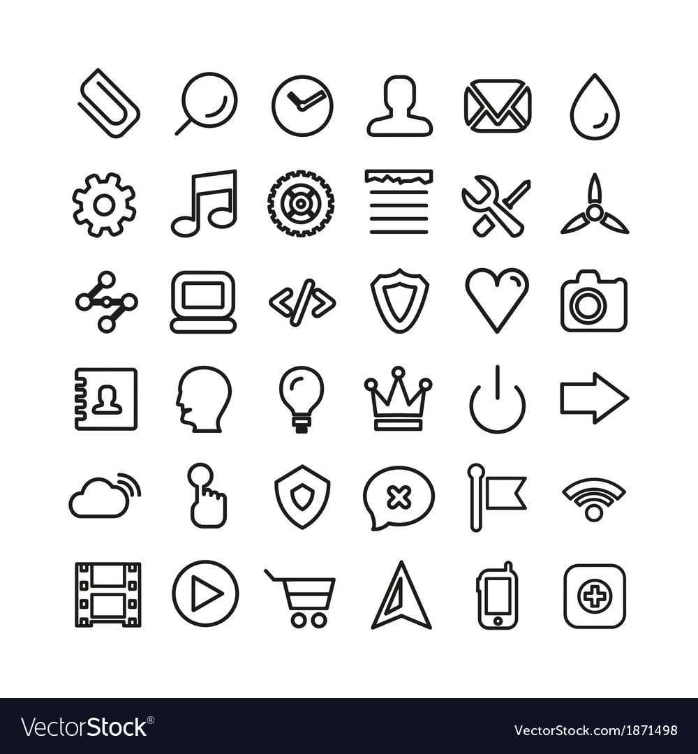 Web line icon set thin icons isolated on white vector   Price: 1 Credit (USD $1)