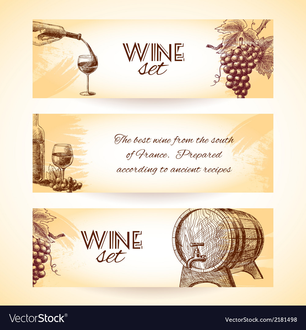 Wine sketch banners vector | Price: 1 Credit (USD $1)