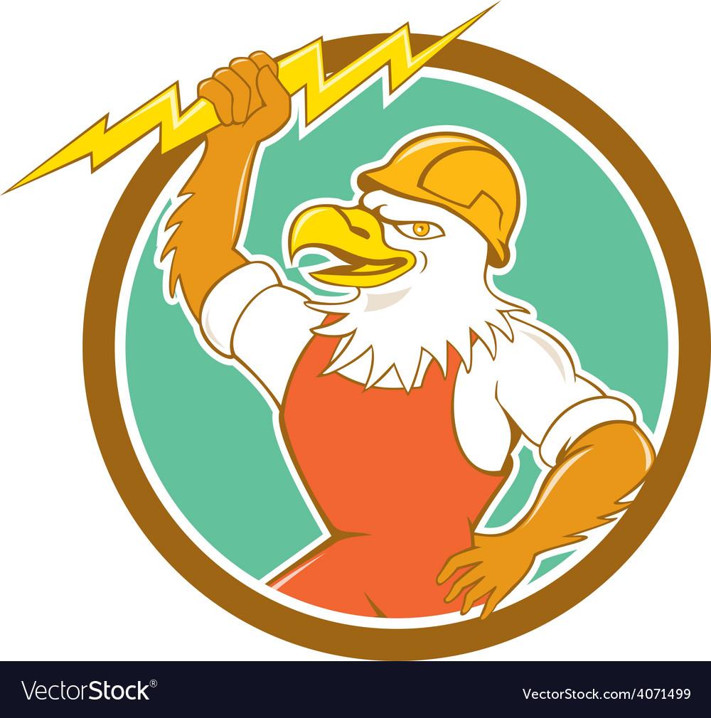 Bald eagle electrician lightning bolt circle vector | Price: 1 Credit (USD $1)