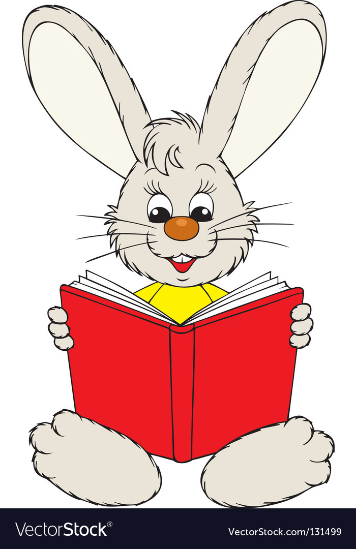 Bunny reading the red book vector | Price: 1 Credit (USD $1)