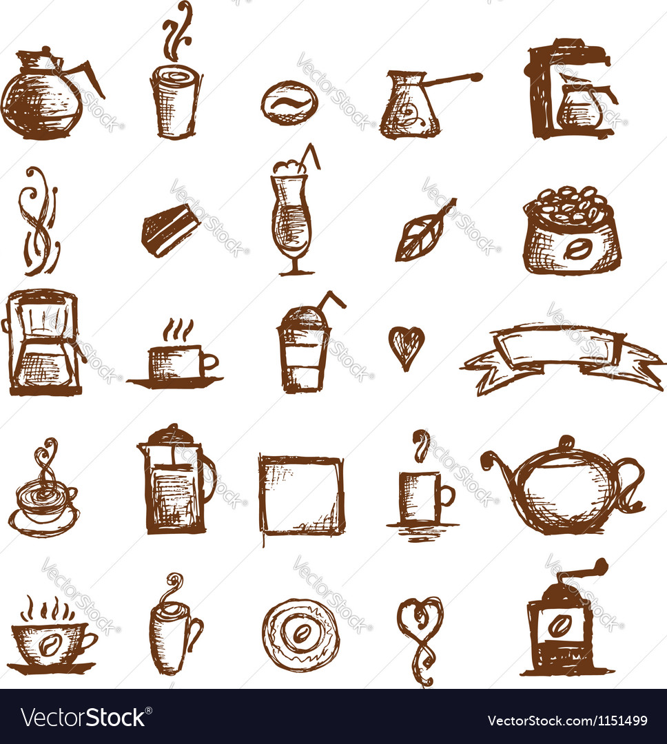 Coffee sketch design elements vector | Price: 1 Credit (USD $1)