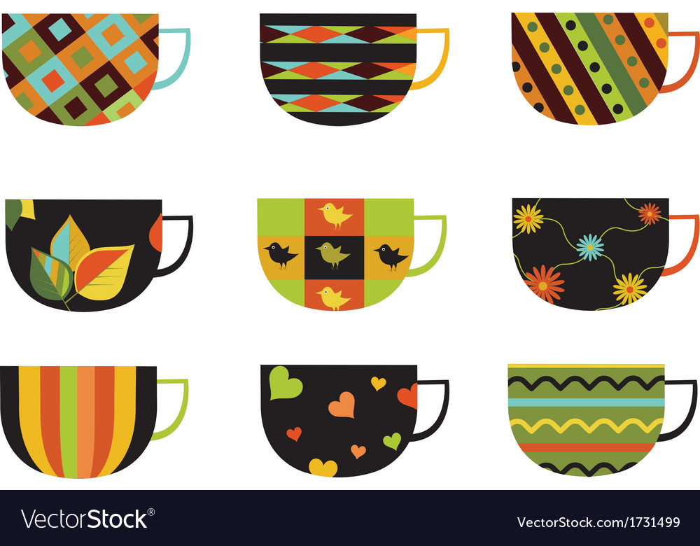 Collection of colorful cups vector | Price: 1 Credit (USD $1)