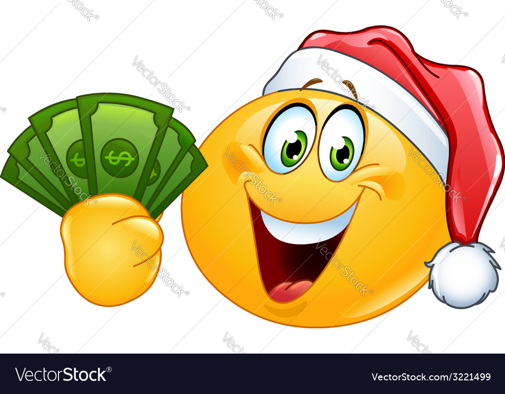 Emoticon with santa hat and dollars vector | Price: 1 Credit (USD $1)