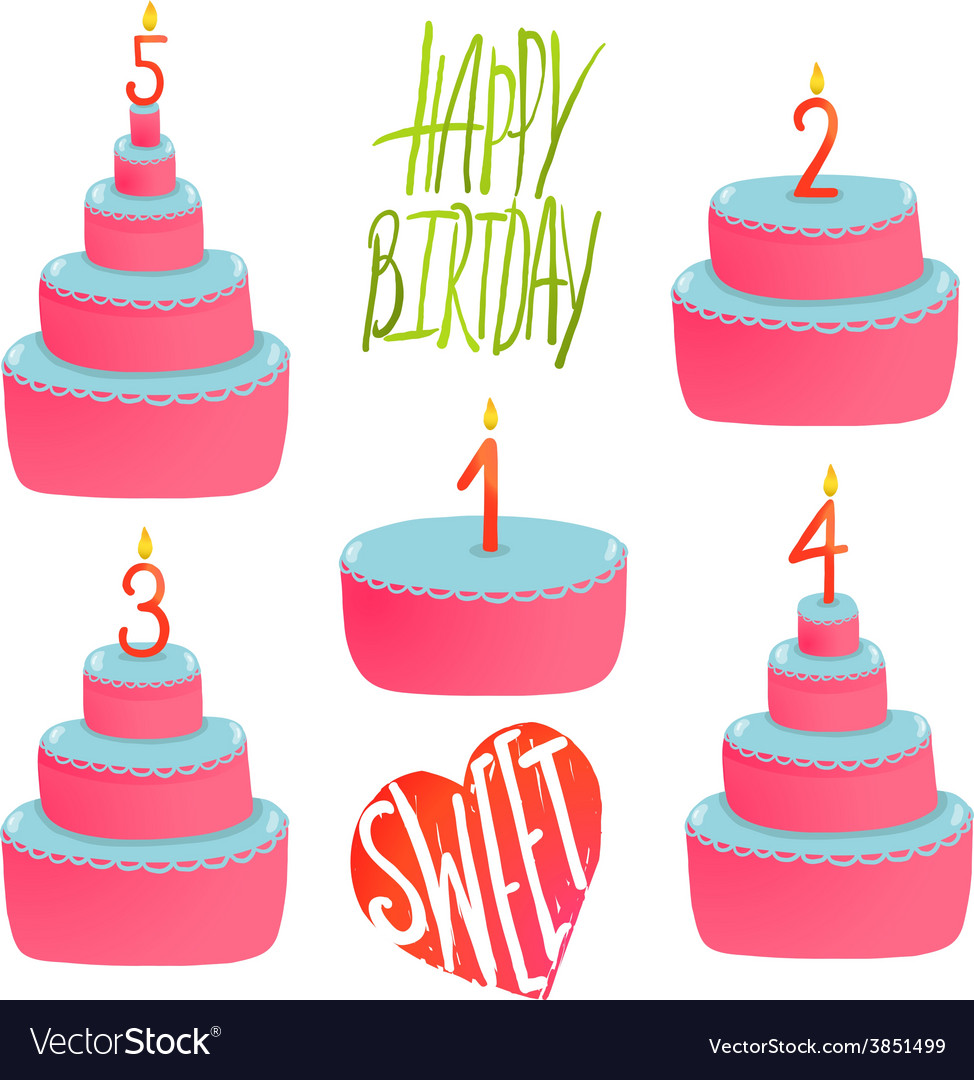 Happy birthday cakes collection with numbers and vector | Price: 1 Credit (USD $1)