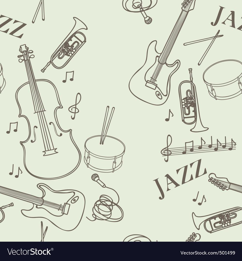 Jazz instruments pattern vector | Price: 1 Credit (USD $1)