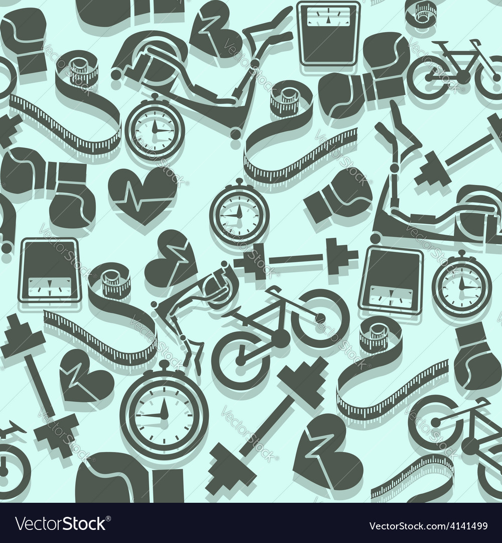 Seamless pattern fitness gray icons on a blue vector | Price: 1 Credit (USD $1)