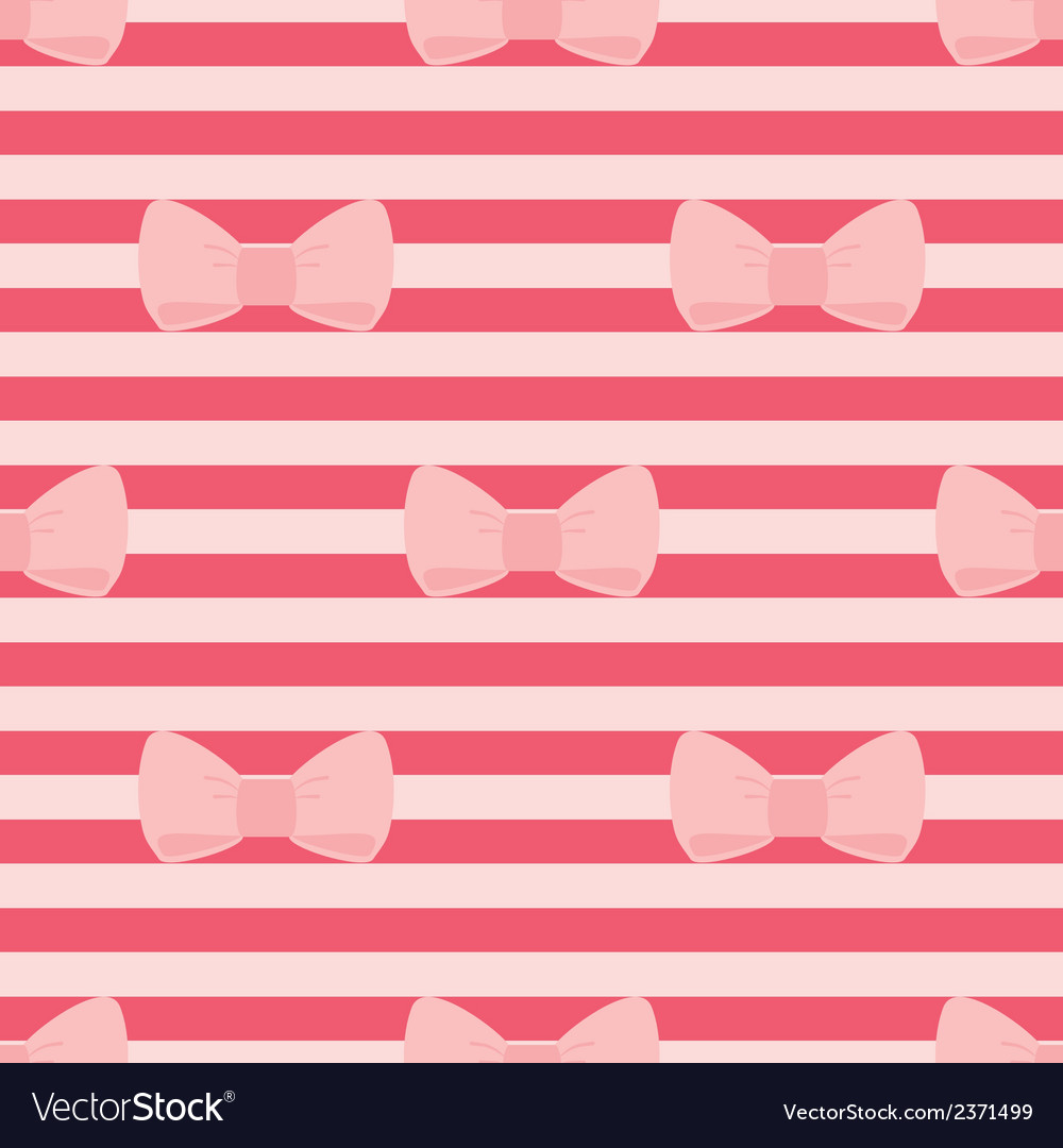 Tile pattern with pastel pink bows on a red strips vector | Price: 1 Credit (USD $1)