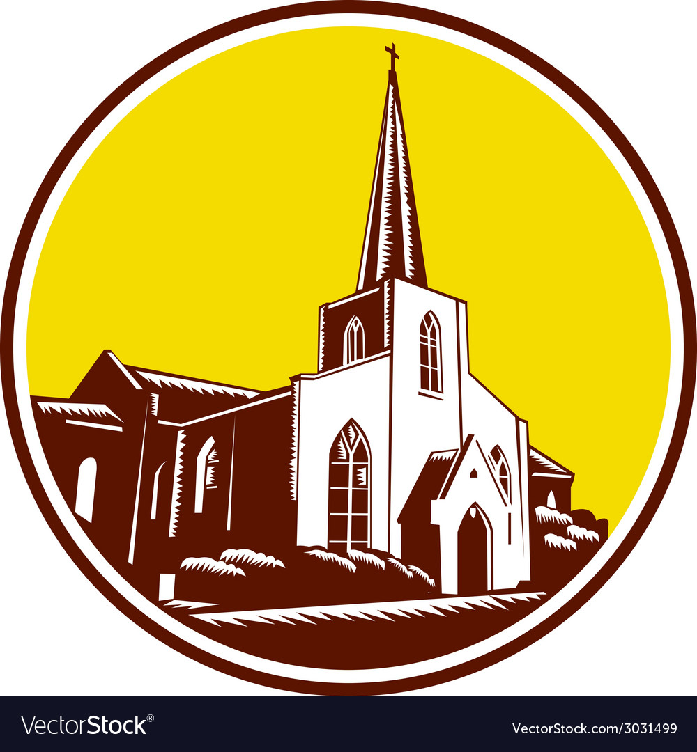 Trinity parish episcopal church woodcut retro vector | Price: 1 Credit (USD $1)