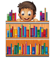 A boy at the back of a wooden shelves with books vector