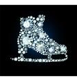 Diamond ice skates sign vector