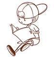 A simple sketch of a boy reading vector