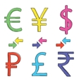 Hand drawing set of currency symbols vector