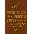 Full alphabet cutout on bark vector