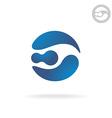 E letter globe logo template robot head vector