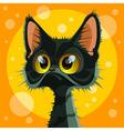 Cartoon cute big eyed black cat vector