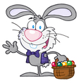 Waving gray bunny with easter eggs and basket vector