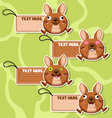 Four cute cartoon kangaroos stickers vector