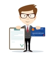 Man with an approved contract and credit cards vector