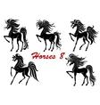 Black horse stallions set vector