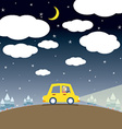 Single woman drive a car in the night vector