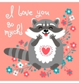 Cute raccoon confesses his love vector