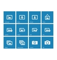 Photographs and camera icons on blue background vector