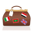 Leather valise travel with constipation 02 vector