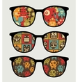 Retro sunglasses with robots reflection in it vector
