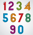 Colorful binary simple numbers with black thin vector