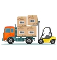 Loader sinker boxes in the truck vector