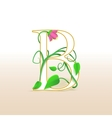Letter b with an vintage floral pattern vector