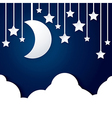 Moon star and cloud paper vector