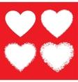 Set of white hand drawn grunge hearts vector