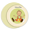 Baby boy playing with his duck toy welcome baby vector
