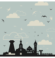 Birds over a city vector