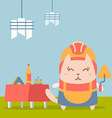 Character builder in helmet and coveralls colorful vector