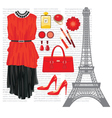 Fashion set with the eiffel tower vector